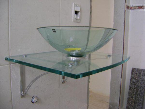 Bancada de vidro com Cuba  dinizvidros -> Cuba Para Pia De Banheiro De Vidro